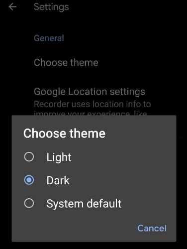 Change Google recorder theme on Pixel devices