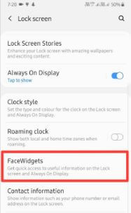Customize FaceWidgets On Lock Screen Samsung A50