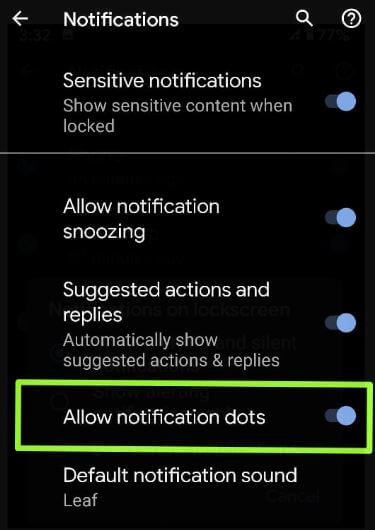 Enable or Disable Notification dot on Pixel 3a and 3a XL