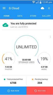 G Cloud Backup Storage App For Android
