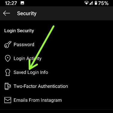 Saved login info Instagram