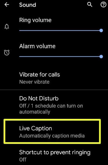 Android 10 live captions on Pixel
