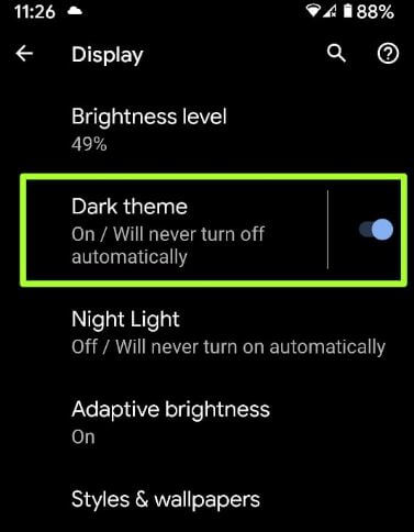 Automatically turn on dark mode on android 10