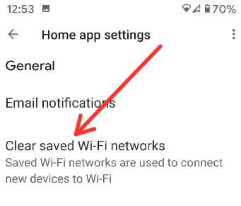 Clear saved Wi-Fi networks on Google Mini
