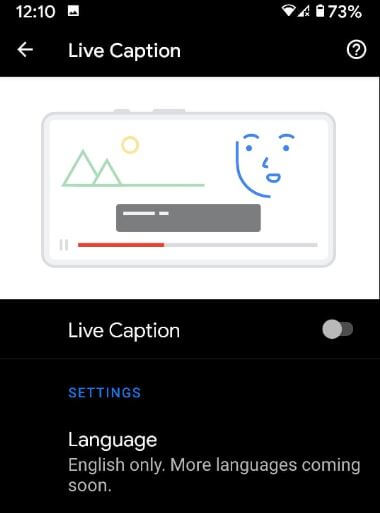 Turn off live caption on Android 10