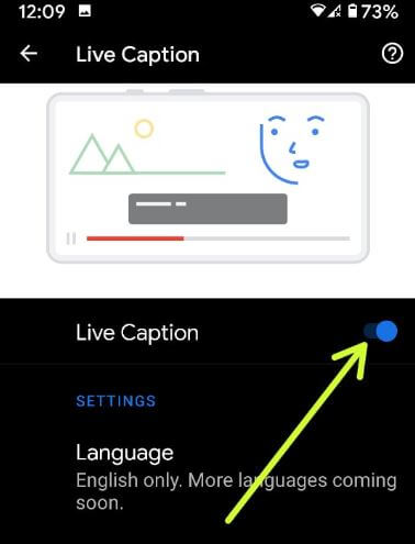 Use Live Captions Android 10