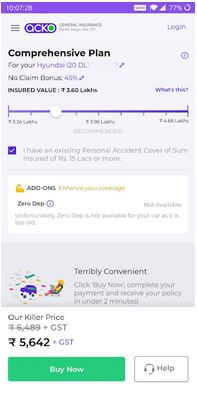 Acko Car and Bike Insurance App For Android