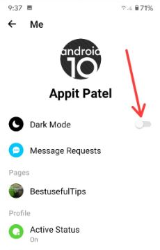 Enable Dark Mode on Facebook Messenger App Android