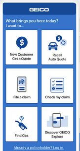 GEICO car insurance quote app for Android