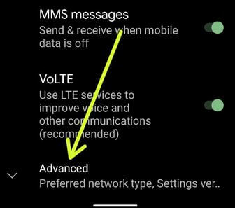 Pixel 4 XL advance settings to activate WiFi calling