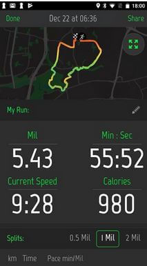 Running distance tracker app for Android