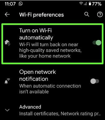 Turn on WiFi Automatically on Android 10 OS Devices