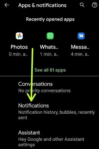 Google Pixel 4a Notification Settings