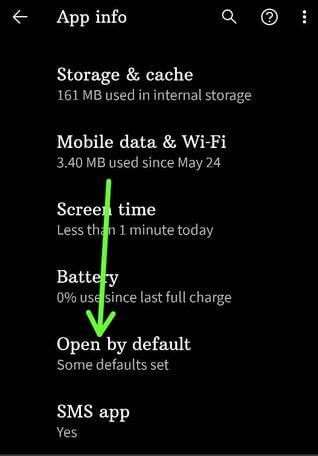 Open by default apps Pixel 4a 5G