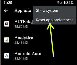 Pixel 4a Reset app preferences settings