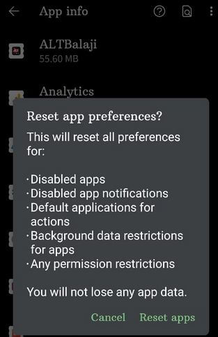Reset app preferences in Google Pixel 4a 5G