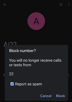 Block private numbers on Google Pixel 4a using contact app