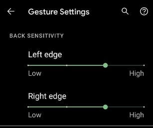 Google Pixel 5 Back Sensitivity Settings