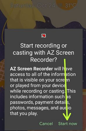 Start recording in Android 11 Using third party app
