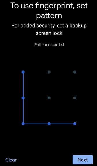 Use Fingerprint in Pixel 4a to set pattern lock