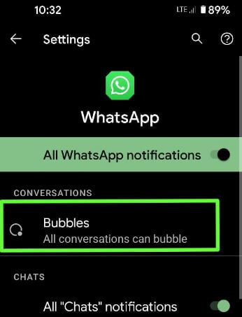 Enable bubbles for all conversation on WhatsApp