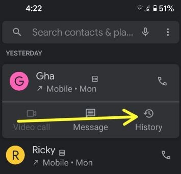 Block a number using contact history settings in Pixel 5