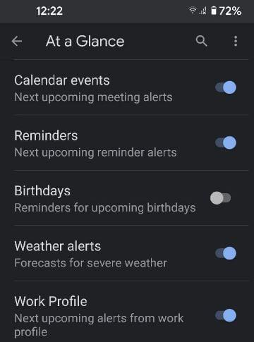 Google Pixel 5 at a glance settings