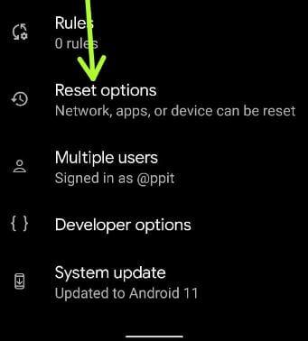Reset options on Google Pixel 5 to reset default network