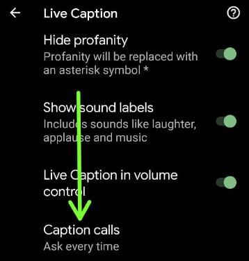 Caption calls settings Google Pixel 5