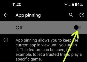 Disable app pinning in Pixel 5