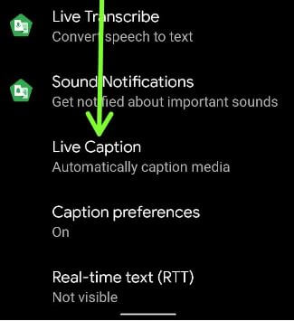 Pixel 5 live caption settings