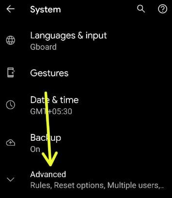 Advanced settings on stock Android 11