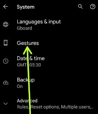 Android 11 gestures settings