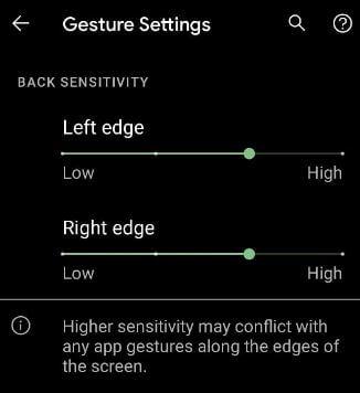 Back sensitivity Gesture settings on Android 11