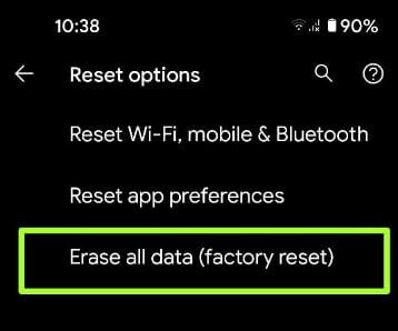 Factory Reset Android 11