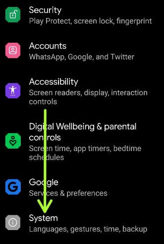 Go to system settings on your Android 11 OS