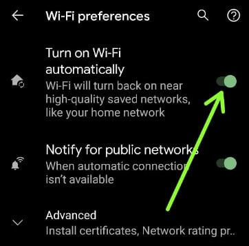 Turn On WiFi Automatically on Android 11