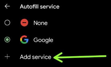 Add service instead of Google autofill on your Pixel 5