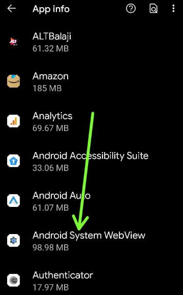 Android system webview app settings to fix Google Pixel 5 app crashing and freezing issue