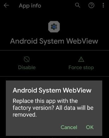 Android system webview uninstall update to fix Pixel 5 apps crashing issue