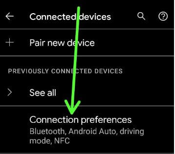 Connection preferences to fix Bluetooth pairing issue Pixel 5