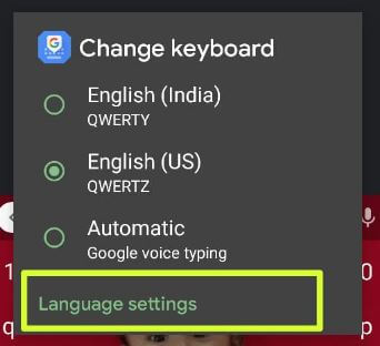 Keyboard language settings on stock Android 11