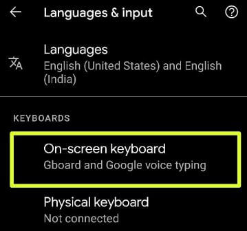 On-screen keyboard settings Android 11 stock OS