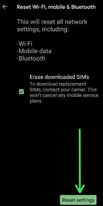 Reset Network Settings on Pixel 5 to fix WiFi issue