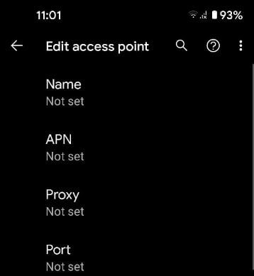 Edit access point in Pixel 5