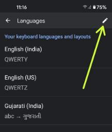 Remove keyboard Language in Google Pixel 5