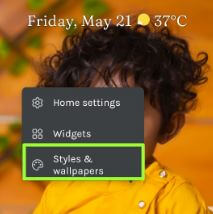 Styles and wallpapers settings to change font style Pixel devices