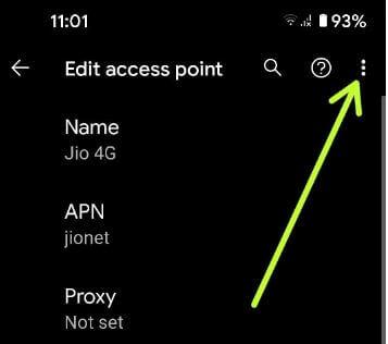 Tap More to go reset default APN settings in Pixel 5
