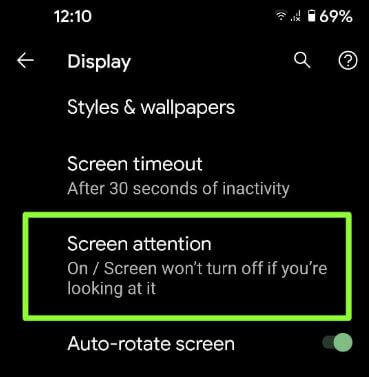 Turn on Screen attention on Android 11