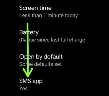 Change default SMS app on Android 11